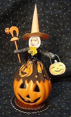 Vintage Inspired Spun Cotton Halloween Witch on Pumpkin