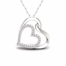 IGI Certified S925 Sterling Silver 0.10ct TDW Diamond Enclosed Hearts Ne... - $171.59