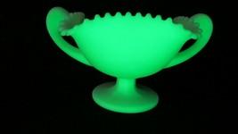 Fenton Lime Green Satin Vaseline/Uranium Glass Double Handed Candy Dish  EUC - $33.66