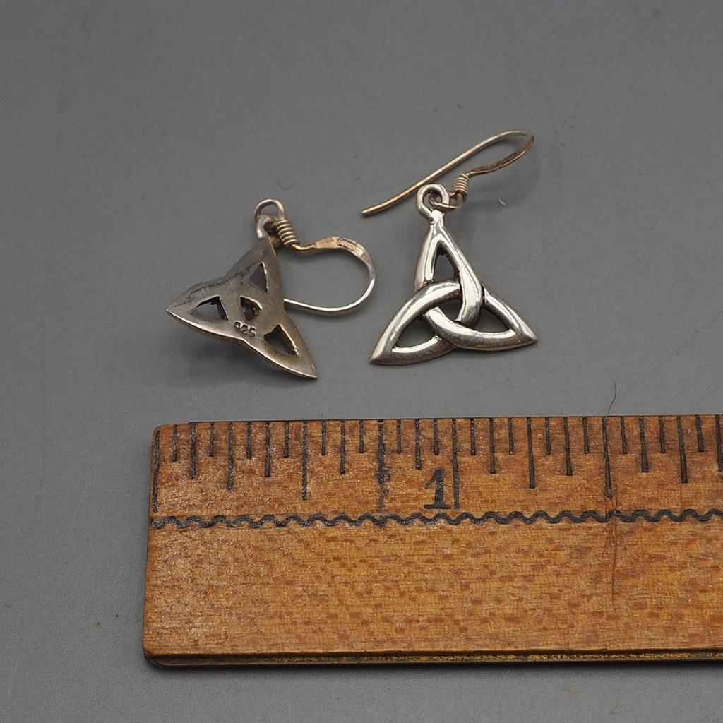 Vintage Sterling Silver .925 Celtic Knot Dangle Earrings 1980's 1990's