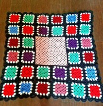 "Crocheted Afgan Throw Blanket Multi Color 56"" x 59"" Granny Squares Handm... - $19.99"