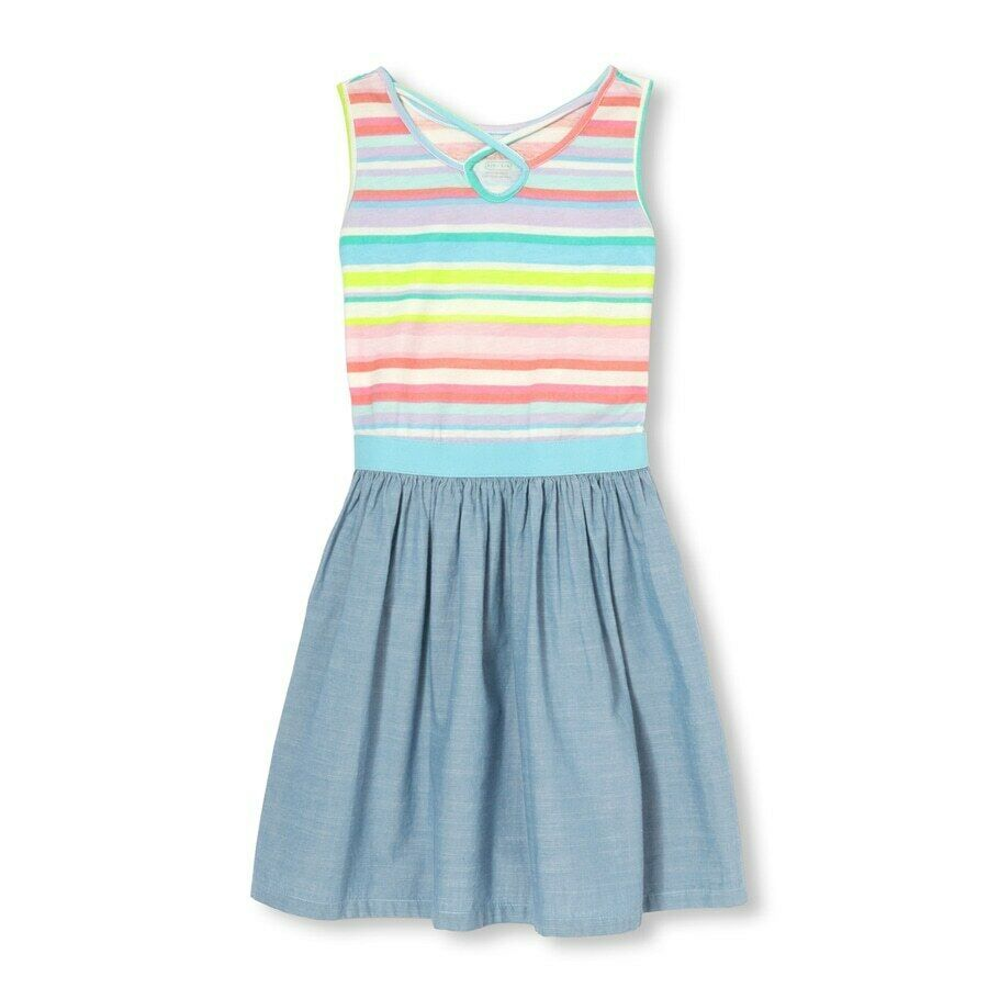 Primary image for NWT The Childrens Place Girls Rainbbow Striped Chambray Sleeveless Dress
