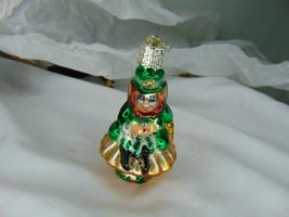 Old World Christmas Glass Ornament - Lucky Leprechaun Sitting On a Mushroom  - $11.39