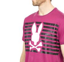 Men's Psycho Bunny Shirt Cullman Graphic Tee Pink Raspberry Striped Logo T-shirt image 5