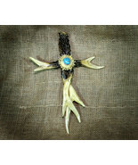 Inspirational Cross of Antler and Turquoise for Country Western Lodge Decor - $20.99