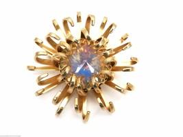 Vintage Signed Brooch Sarah Coventry Mystic Blue Swarovski Rivoli Crystal - $31.62