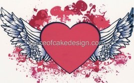 """6"""" Round ~ Happy Valentines Day Winged Heart ~ Edible Image Cake/Cupcake... - $7.13"""