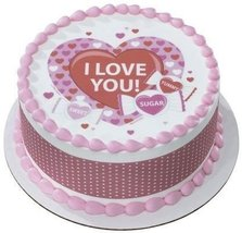 "6"" Round ~ Sweet Candy Valentine's Day ~ Edible Image Cake/Cupcake Topper!!! - $8.54"