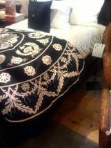Pottery Barn Suzani Duvet Cover Black King 2 Standard Sham Embroidered R... - $189.00