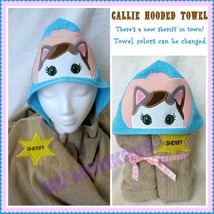 Cowgirl Callie Cat Childrens Beach Towel/Kids Bath Towels/Toddler Hooded... - $30.00