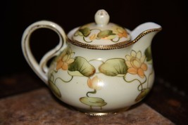 VINTAGE TN JAPAN CREAM PITCHER  PAINTED YELLOW LOTUS FLOWER GOLD GILT MO... - $39.99