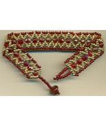Red Gold Bead Woven Bracelet - $32.36