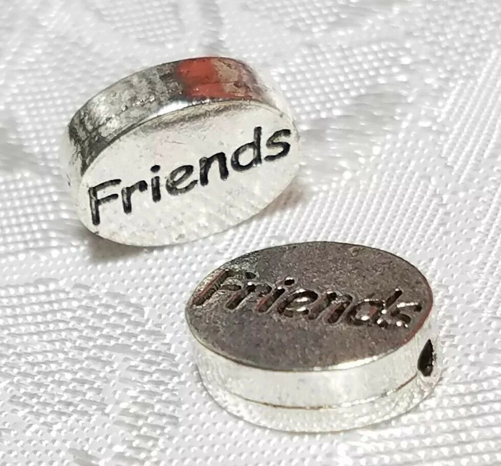 FRIENDS WORD FINE PEWTER OVAL DISC BEAD - 11mm L x 9mm W x 3mm D
