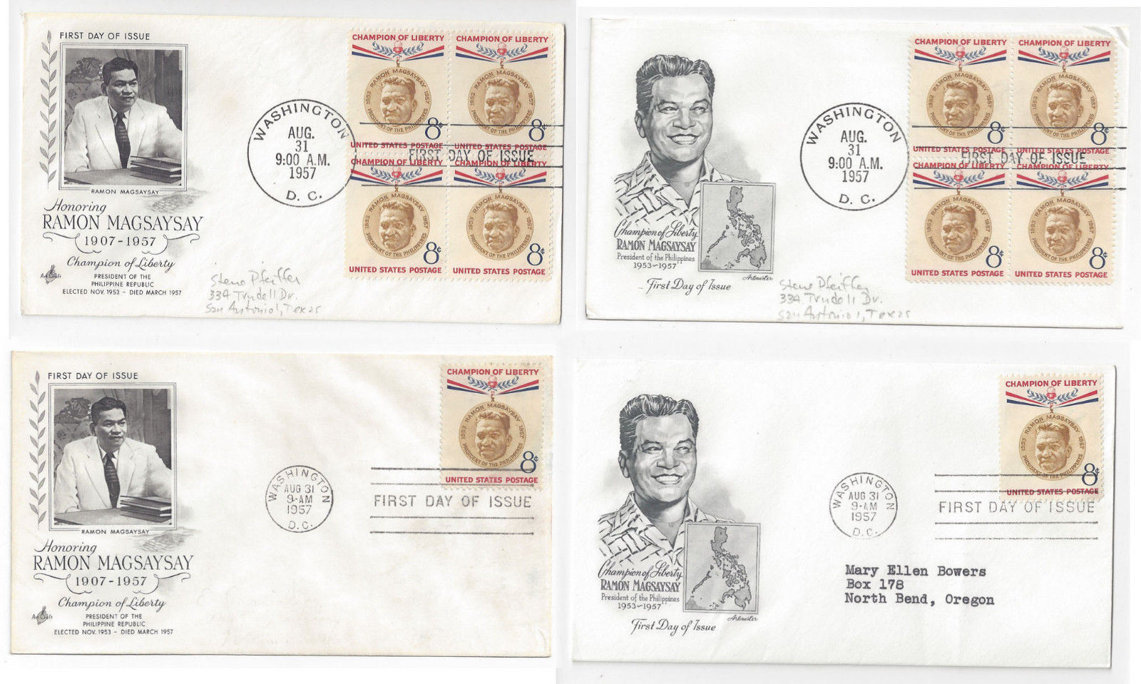Primary image for 1096 Ramon Magsaysay FDC s 4 First Day Covers 2 Diff Cachets Blks of 4