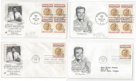 1096 Ramon Magsaysay FDC s 4 First Day Covers 2 Diff Cachets Blks of 4 - $9.44