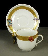 AK Kaiser Butterfly Demitasse Cup Saucer Hand Painted Gold Trim W Germany - $51.87