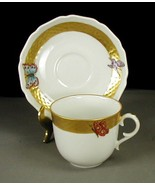 AK Kaiser Butterfly Demitasse Cup Saucer Hand Painted Gold Trim W Germany - £40.31 GBP