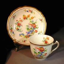 Alfred Meakin Demitasse Cup Saucer Marigold Astoria Shape Floral Gold Trim - $13.30