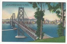San Francisco CA Oakland Bay Bridge Skyline Vtg Linen Metrocraft Postcard - $4.99