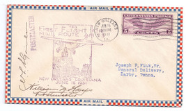 CAM 33 First Flight 1931 New Orleans AM 33 Roessler Envelope Postmasters signed - $6.69