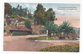 CA Los Angeles Elysian Park Winding Drive Vintage Hechts Postcard - $4.74