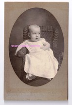 Cabinet Photograph Baby 1901 Wicker Chair Gown ID George Kelley Yeager - $23.28