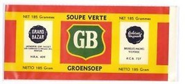 Can Label Grand Bazar Soupe Verte Groensoep Belgian Green Soup - $4.74