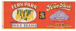 Can Label Fern Park Wax Beans Can label L. Klein Chicago - $4.74