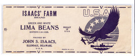 Can Label Isaacs Green and White Lima Beans WWII Eagle Ellendale DE - $4.99