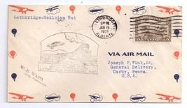 Canada 1931 FFC Lethbridge to Medicine Hat Air Mail First Flight Cover - $5.99