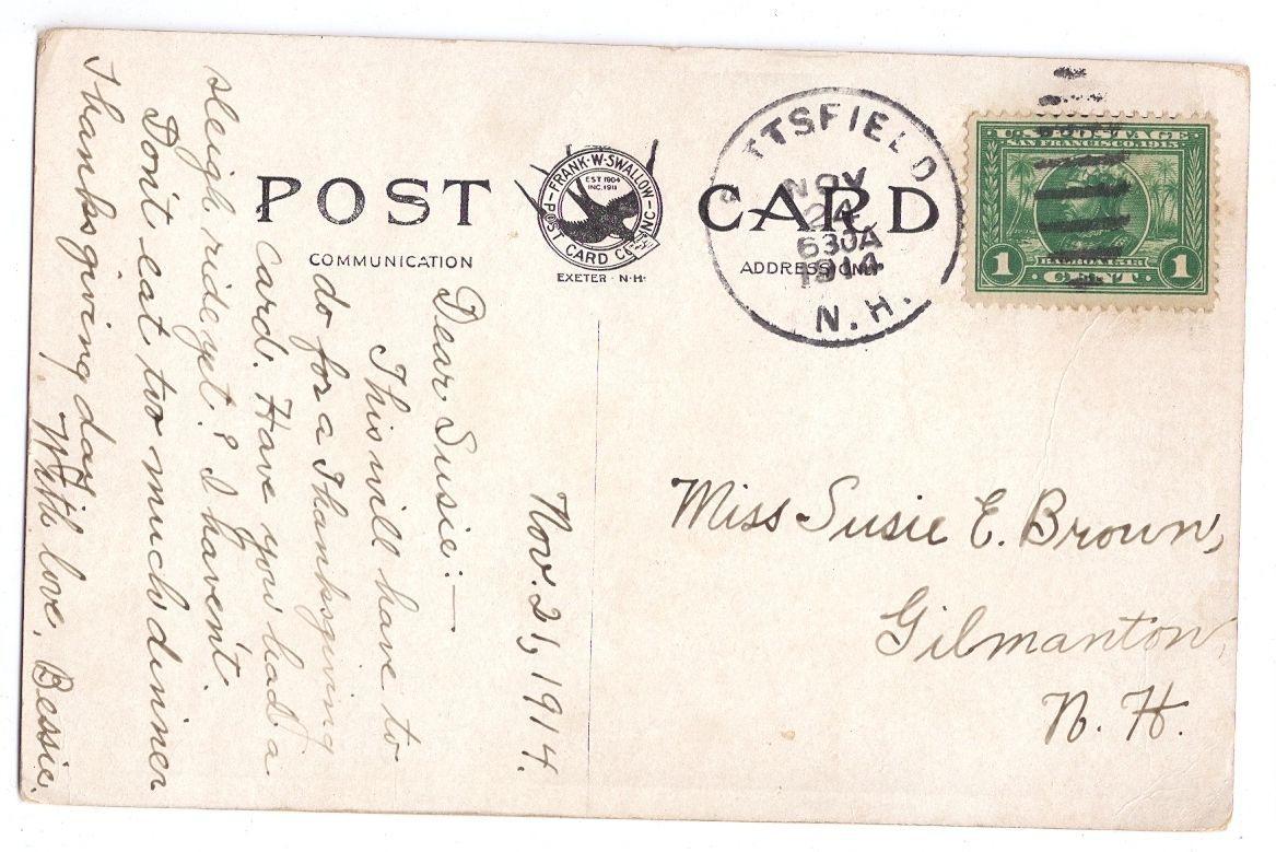 Center Barnstead NH Soldiers Monument GAR Civil War 1914  Vintage Postcard