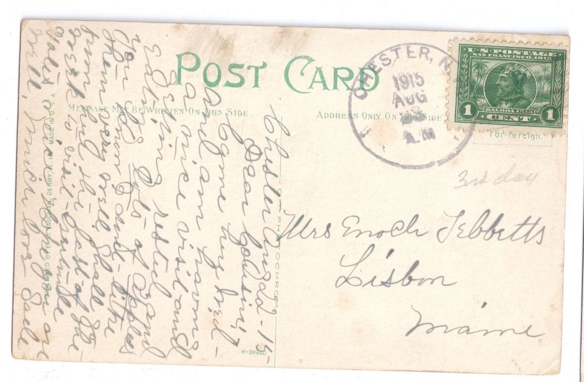 Chester NH Soldiers Monument Town Hall Civil War 1915 Vintage Postcard