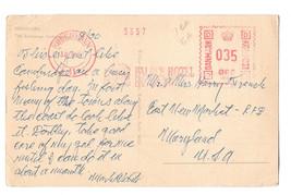 Denmark Meter Franked Postcard to US Palace Hotel Slogan Vtg 1953 - $4.74