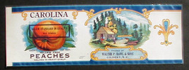 Fruit Can label Carolina Peaches Gilbert SC Litho Below Standard overprint - $4.84