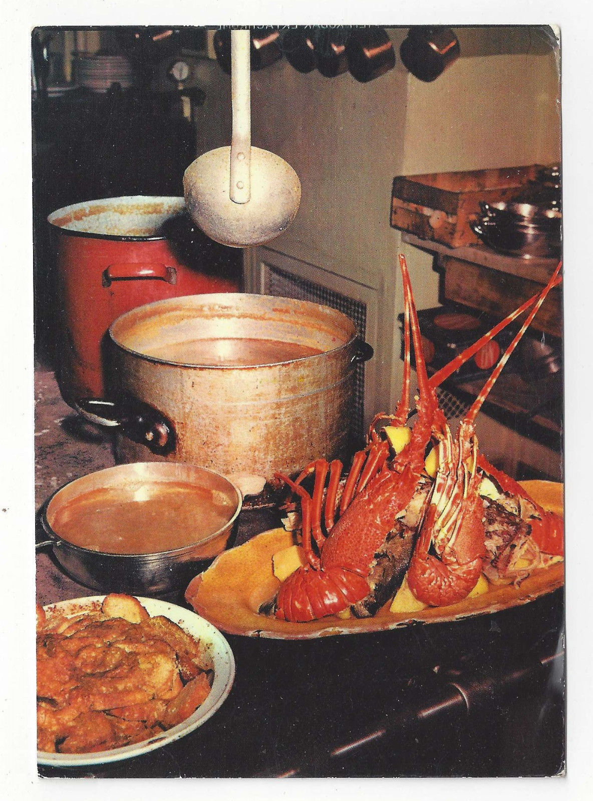 France Restaurant Lobsters La Mere Terrats Napoule Plage Vtg Food Postcard 4X6
