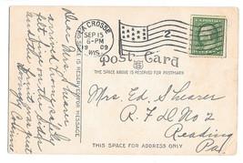 Flag Cancel La Crosse Wisconsin 1909 on Postcard - $6.36