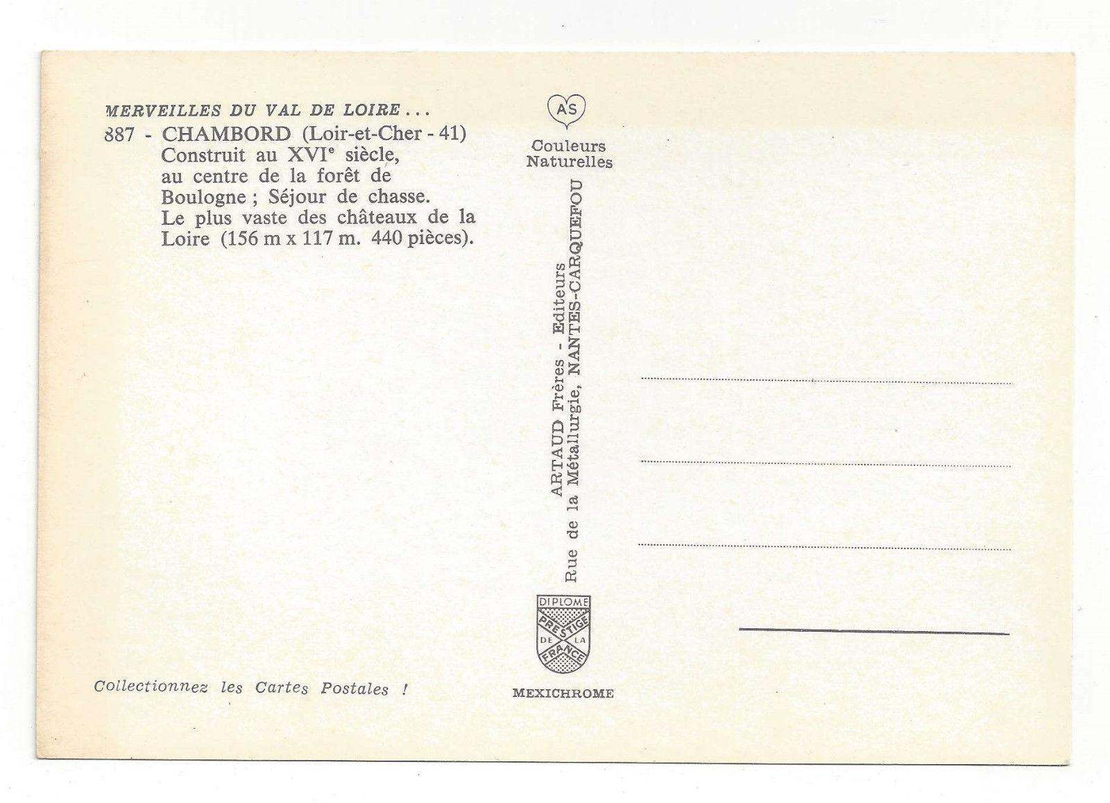France Chateau de Chambord Palace Castle Loire Vtg Chrome Postcard 4X6