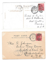 GB 2 Duplex Postmarks on PPCs to US Kenilworth 1906 Melton Mowbray 1903 - $5.99