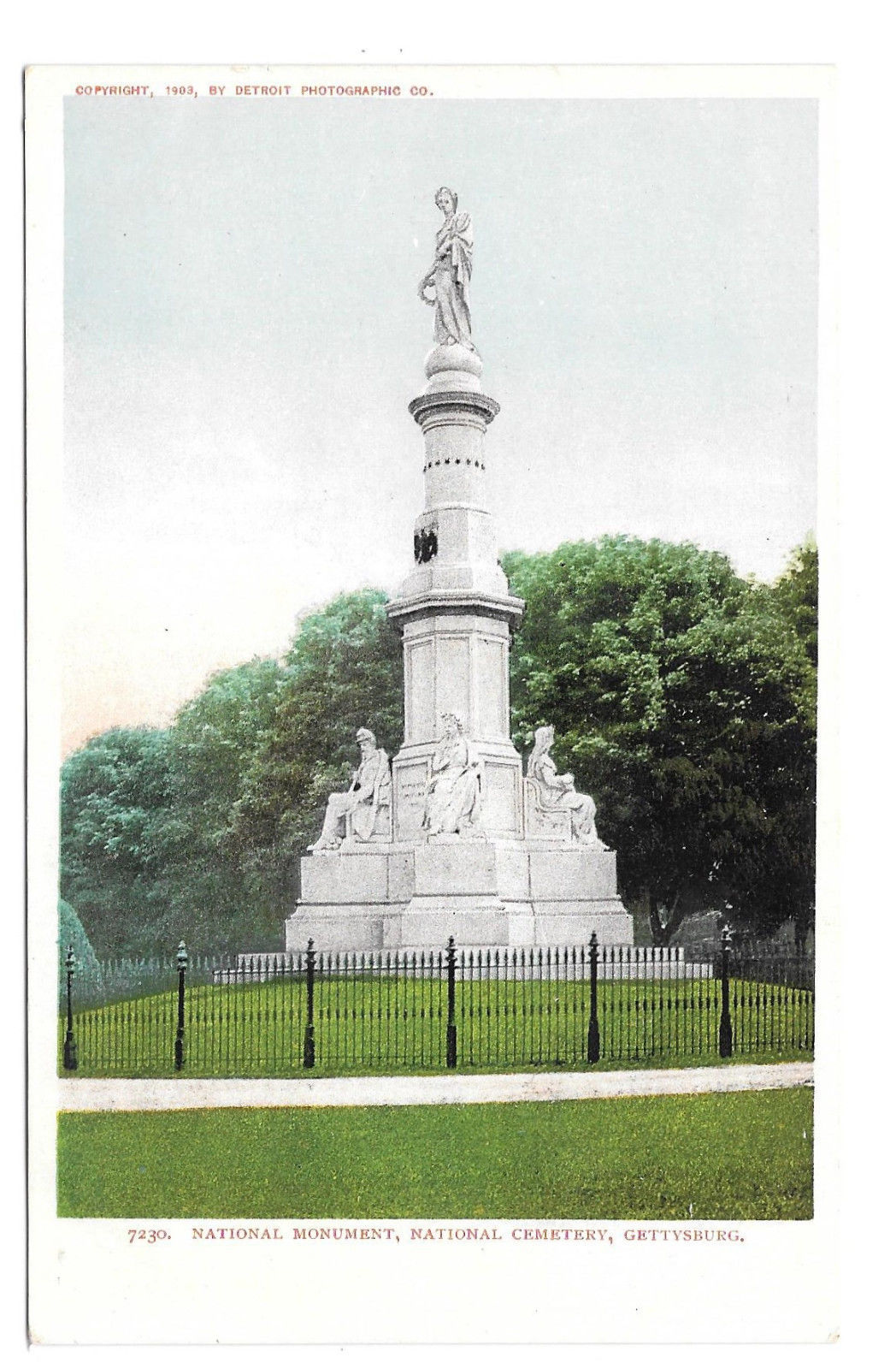 Gettysburg Civil War National Cemetery Monument Vtg UDB Postcard 1903 PA
