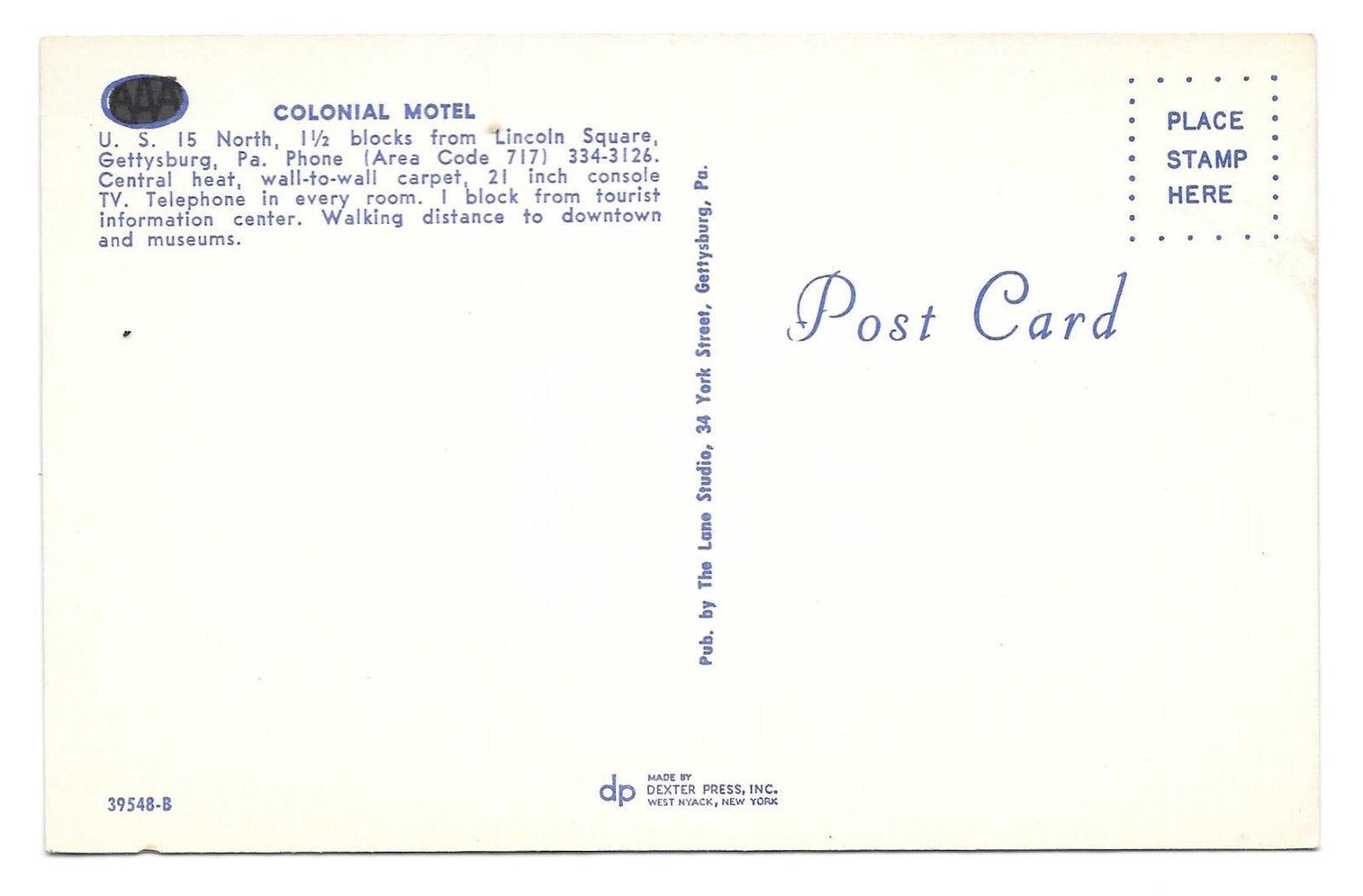 Gettysburg PA Colonial Motel US Rte 15 Vtg Postcard