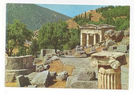 Greece Delphi Stoa of the Athenians Ancient Ruins Ionic Capital Vtg Post... - $6.36