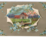 Greetings Embossed Forget Me Nots Cottage Scene Vtg Postcard EAS Schwerdtfeger