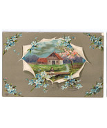 Greetings Embossed Forget Me Nots Cottage Scene Vtg Postcard EAS Schwerdtfeger - £4.94 GBP