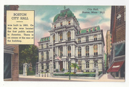 MA Boston City Hall Vtg Linen Postcard - $4.74