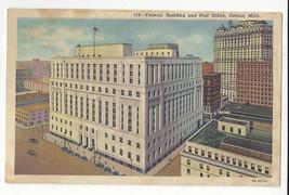 MI Detroit Federal Building Post Office Vtg 1934 Linen Postcard - $6.36