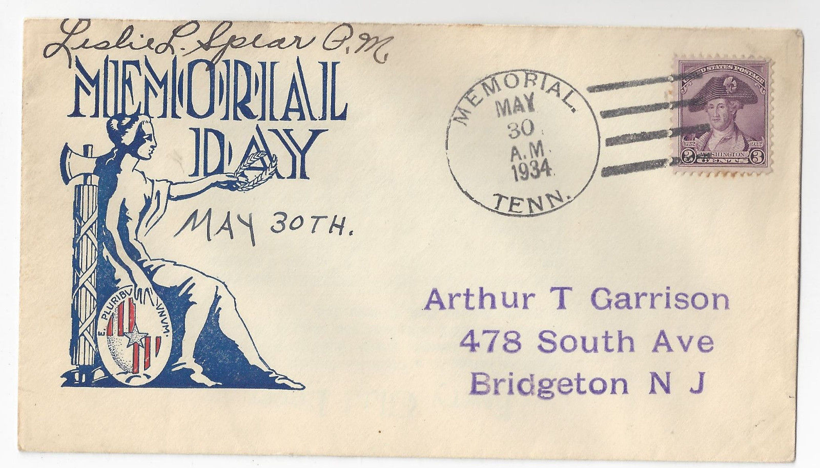Memorial Day 1934 Cachet Cover Memorial TN Leslie Spear PM Signed 4-Bar DPO