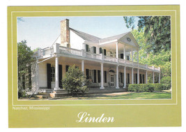 Natchez Mississippi Linden Mansion Vtg Postcard 4X6 MS - $6.36