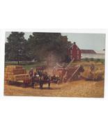 PA Lancaster Co Amish Farm Threshing Baling Hay Pennsylvania Dutch Vtg P... - $6.64