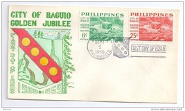 Philippines FDC 1959 Baguio SC # 804 805 Cachet Cover Golden Jubilee - $4.74