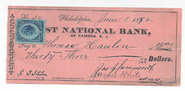 Revenue R152 First National Bank of Camden NJ 1882 $33 Check Thomas Hanlon - $7.59